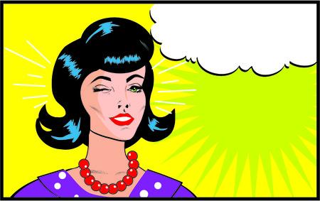 girl short hair: Retro Woman Winking banner - Retro Clip Art comics style