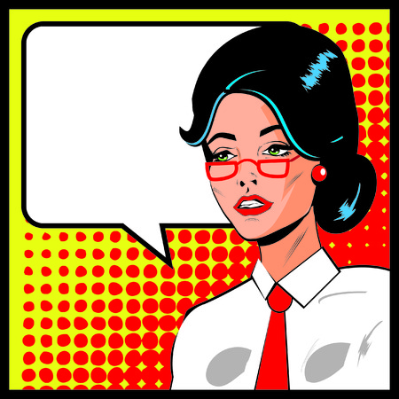 serious: Pop Art Business Woman with Speech Bubble. Retro business smiley girl Stock Photo
