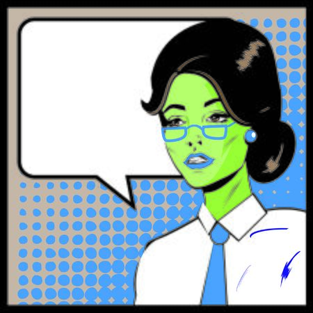 one girl only: Pop Art Business Woman with Speech Bubble. Retro business smiley girl Stock Photo