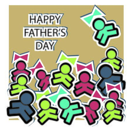 happy fathers day card: Sticky boys and girls note on Happy Fathers Day card Stock Photo