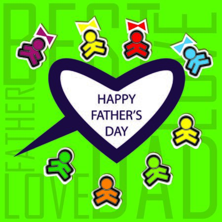 Dads kids love card background invitation Stock Photo