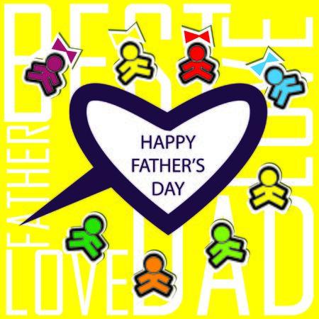 salutations: Dads kids love card background invitation Stock Photo