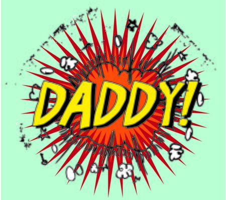 Fathers day boom cartoon stamp with text daddy! inside,vector illustration