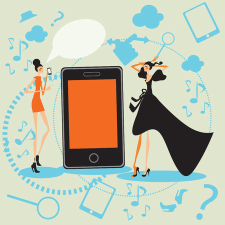 shopping questions: Mobil fashion and shopping girls Talking Social communication