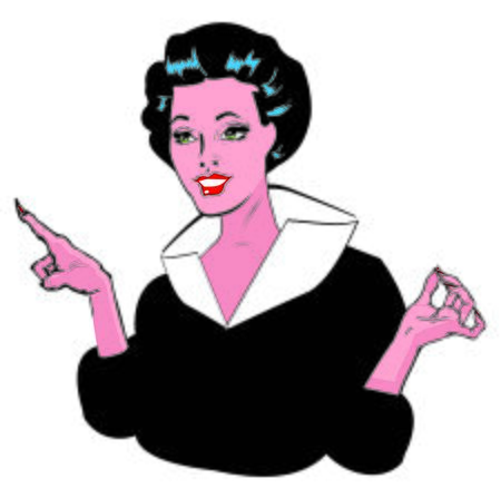 gals: Stock Vector Illustration:Pointing Gal - Retro Clip Art collection Stock Photo