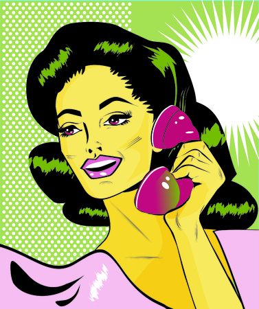 telephone saleswoman: Lady Chatting On The Phone - Retro Clip Art