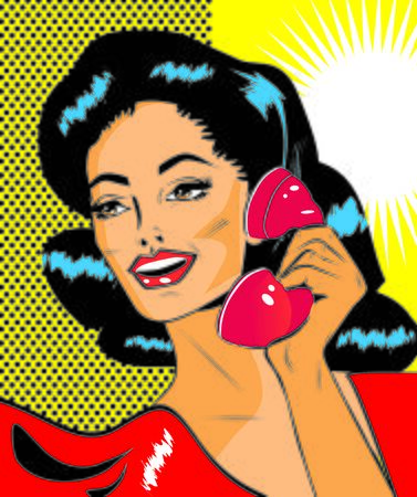 lady on phone: Lady Chatting On The Phone - Retro Clip Art