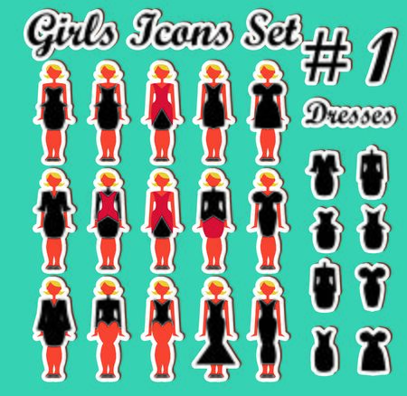 businessteam: Girls Woman Icons Set 1 dress and people Stock Photo