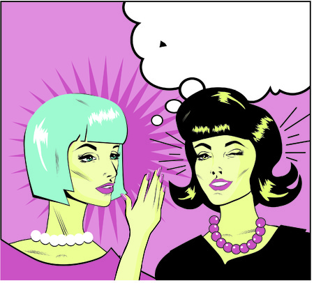 denunciation: informer Clipart Illustration of Two Gossiping Retro Women banner