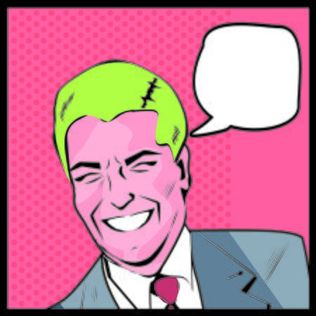 ben day dot: Pop Art Man - dot and color layers happy businessman talking