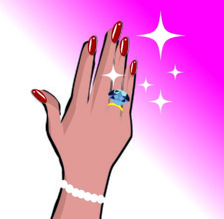 Female hand with wedding ring love background in pop art comic style Stock Photo