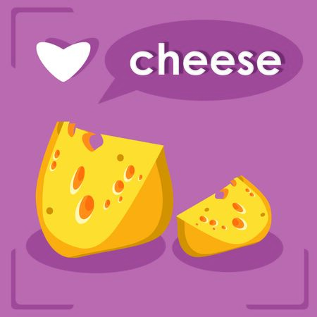 chunk: Pieces Of Cheese I love Cheese card Stock Photo