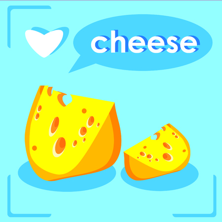 edam: Pieces Of Cheese I love Cheese card Stock Photo