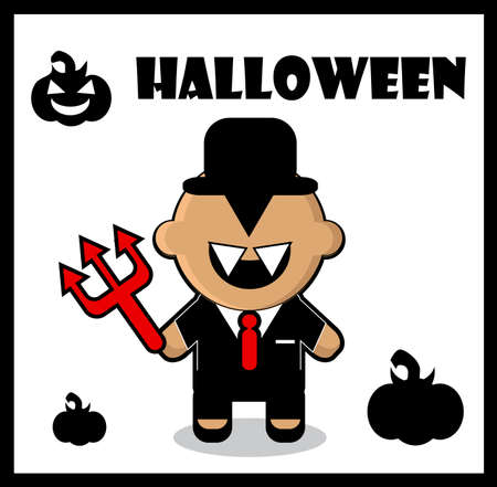 morals: Halloween icon Devil businessman dracula card poster background