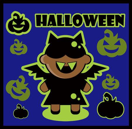 transylvania: Halloween icon Bat card poster background silhouette of bat girl and pumpkin Stock Photo