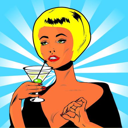 liquor girl: Martini Toast - Retro Clip Art Stock Photo