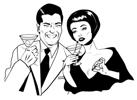 gals: Couple With Cocktails Toasting - Retro Clip Art