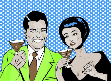 liquor girl: Couple With Cocktails Toasting - Retro Clip Art