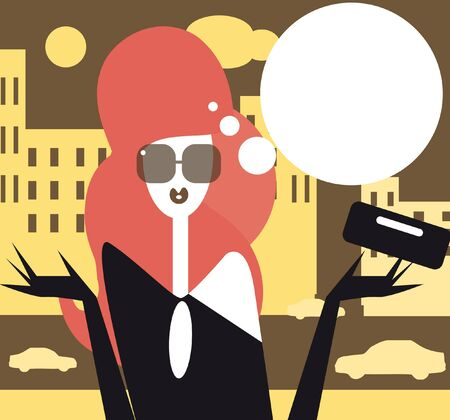 moderm: Moderm woman talking  female fashion illustration Girl in the city Stock Photo