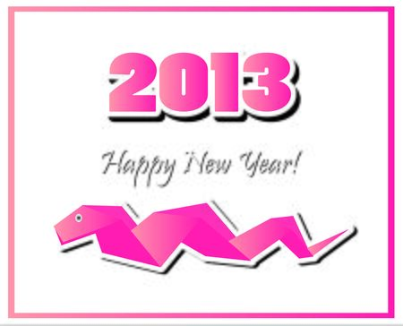 snake origami: New Years Eve greeting card