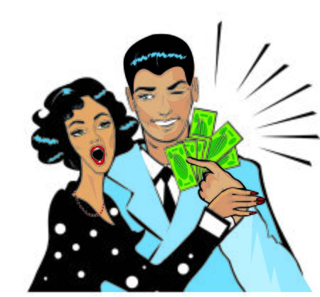 husband and wife: Woman wow Her Husband On The Cheek As He Hands Her Money Stock Photo