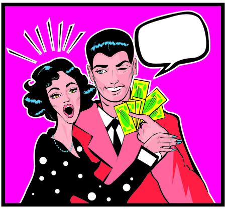 cheek: Woman wow Her Husband On The Cheek As He Hands Her Money Stock Photo