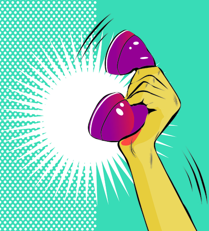 grasp: Pop Art illustration of a hand holding a phone Stock Photo