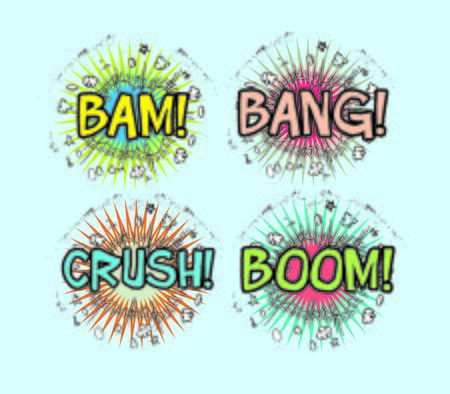bang: Crash, Boom, Bam and Bang! Four grouped Comic book cloud bursts and explosions! Stock Photo