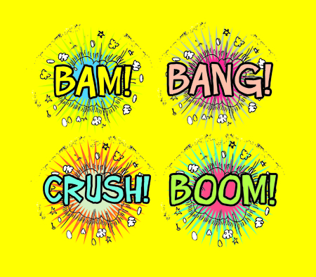 bam: Crash, Boom, Bam and Bang! Four grouped Comic book cloud bursts and explosions! Stock Photo
