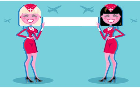 cabin attendant: Beautiful Stewardess with blank or text message