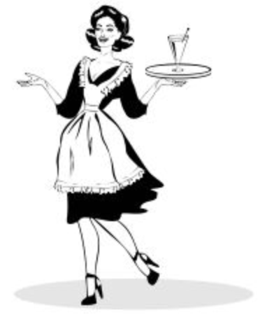 dinners: Comic Sexy Server - Retro Clip Art from big collection pop art Stock Photo