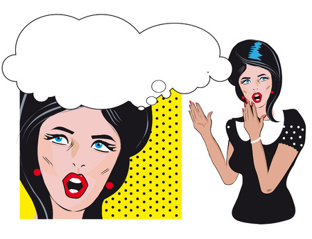 2 persons only: Two people talking woman hold a blank Retro Background pop art comics style women said, woman listening to gossip