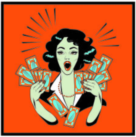 retro woman: Clipart Illustration of a Retro Woman Holding Handfulls Of Cash and shocked