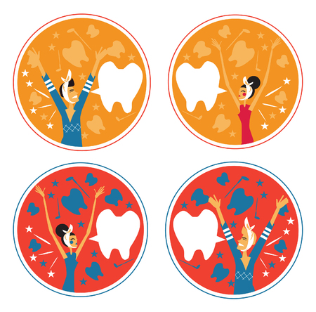 toothache: Toothache man and woman emblem backgrounds set An image of a man and woman with a toothache wearing a head bandage.
