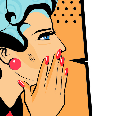spread the word: Comics hand gesture of woman telling secrets, spread the word illustration