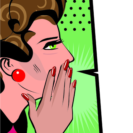telling: Comics hand gesture of woman telling secrets, spread the word illustration