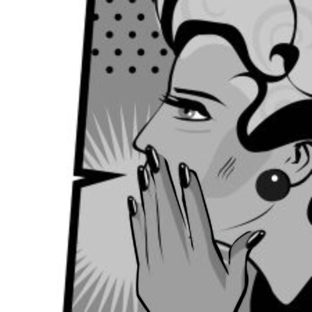blab: Comics hand gesture of woman telling secrets, spread the word illustration