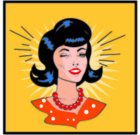 retro woman: Retro Woman Winking - Retro Clip Art