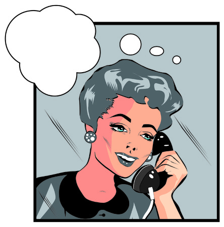 woman on phone: Comics style girl woman talking  by phone