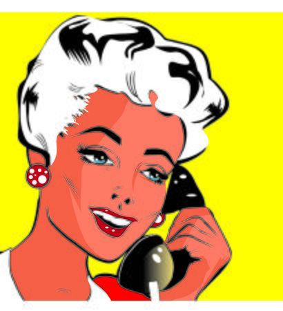 clipart speaker: Lady Chatting On The Phone - Pop Art Stock Photo