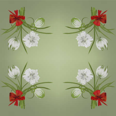 posterity: Retro white flower card background Hand Draw Stock Photo