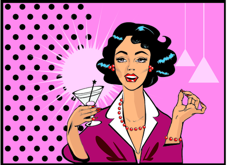 retro woman: Woman drinking martini or cocktail retro vintage clipart Stock Photo