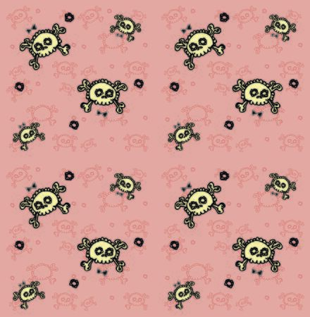 lots: skulls seamless pattern. Lots of sculls with comic texture, graphic stylized  silhouettes, vector background