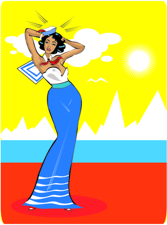 cartoony: Vector Clip Art Illustration of a Sexy Female Sailor Pinup retro poster