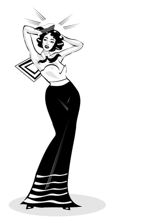 renders: Vector Clip Art Illustration of a Sexy Female Sailor Pinup retro poster