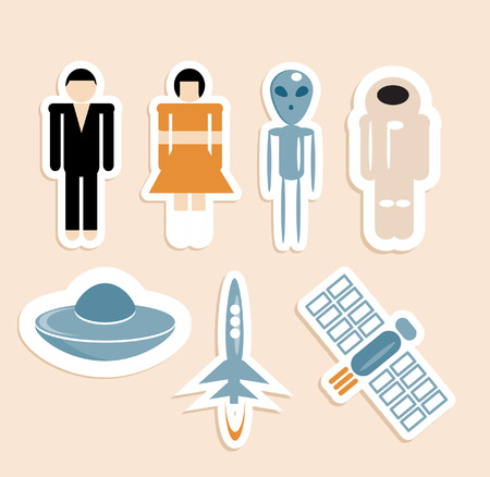 peoples: Space, peoples, Astronaut and aliens icons set - fly objects