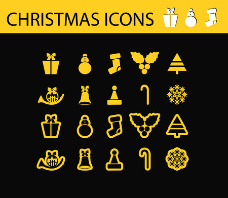 Abstract vector illustration of schristmas icons and symbols, shiny web buttons, tags on black background