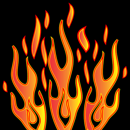 orange inferno: Abstract Vecrtor trick flames background, card, icon Stock Photo