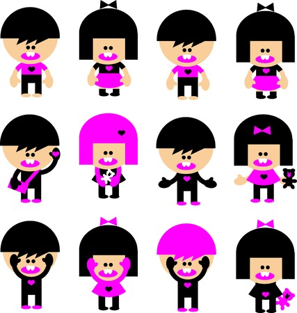 Vector Cartoon emo children icons. Boys, girls, heart and bear in pink and black. Stock Photo