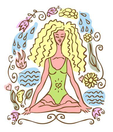 nature woman: Yoga, sport woman, nature vector emblem, icon, fake symbol Stock Photo